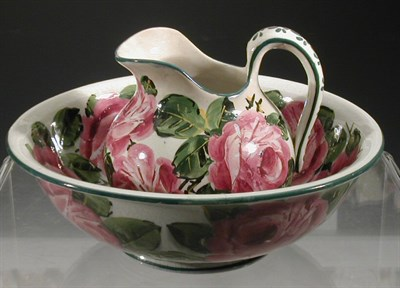 Lot 90 - A Wemyss 'Roses' small ewer and basin, each...