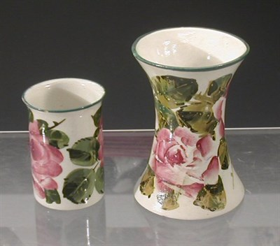 Lot 73 - A Wemyss 'Roses' beaker vase, painted with...
