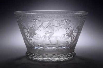 Lot 58 - A Scandinavian etched glass bowl attributed to...