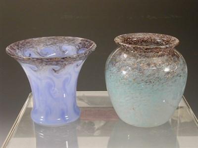 Lot 22 - A Monart ovoid glass vase, the mottled blue...