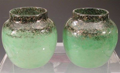 Lot 20 - A pair of Monart ovoid glass vases, each...