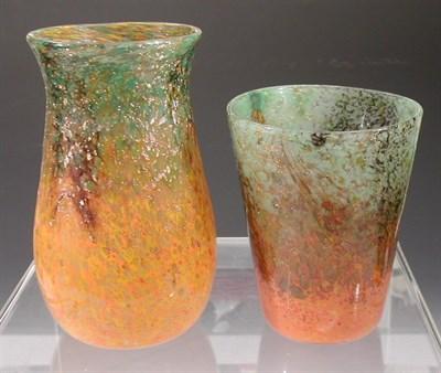 Lot 11 - A Monart baluster glass vase, the mottled...