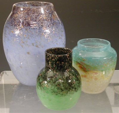 Lot 21 - A Monart ovoid glass vase, the mottled pale...