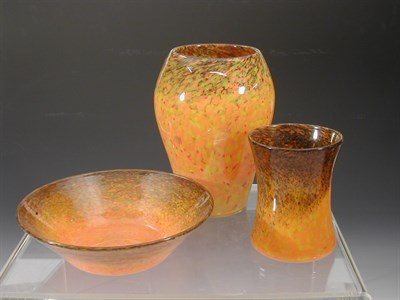 Lot 12 - A Monart tapering glass vase, the red, orange...