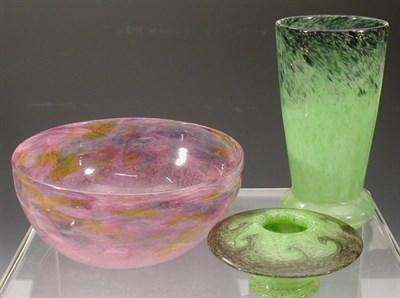 Lot 14 - A Monart tapering glass vase, the mottled pea...