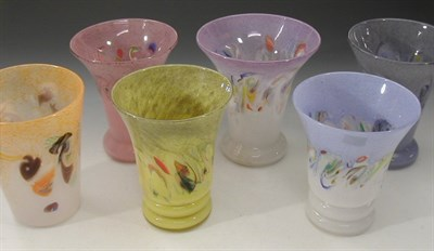 Lot 33 - A group of six Strathearn glass vases, five...