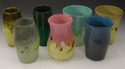 Lot 34 - A group of seven Strathearn glass vases, in a...