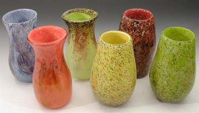 Lot 35 - A group of six Strathearn glass vases, three...