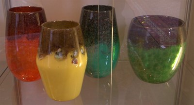 Lot 36 - A group of three large Strathearn glass vases,...