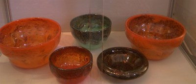 Lot 38 - Five Strathearn glass bowls, including two...