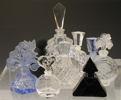 Lot 51C - A collection of ten glass scent bottles,...