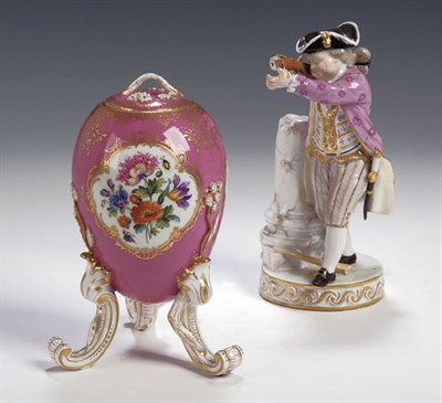 Lot 89 - A 19th century Meissen figure of a young man,...