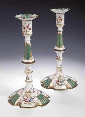 Lot 90 - A pair of 18th century Battersea enamel...