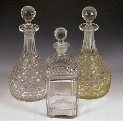 Lot 56 - A pair of Victorian decanters, of canted...