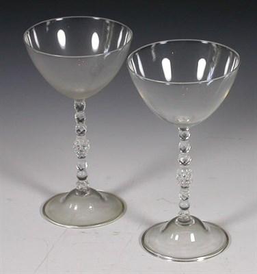 Lot 48 - A set of eleven Edwardian cocktail glasses,...