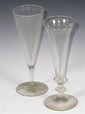 Lot 49 - A set of six 19th century glass flutes, with...