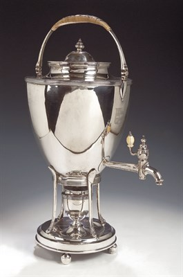Lot 38 - A George III silver tea urn on stand, with...