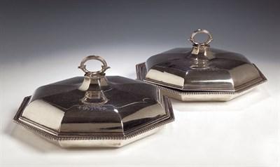 Lot 37 - A pair of George III silver vegetable tureens...
