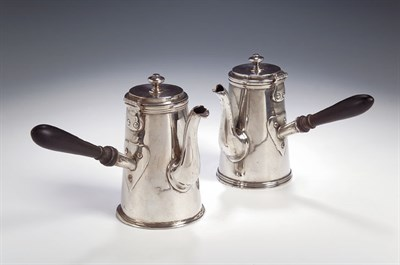 Lot 29 - A pair of Victorian small silver chocolate...