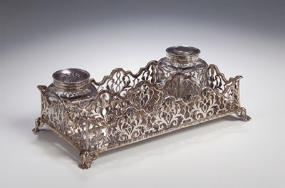 Lot 28 - An early Victorian silver desk stand, with...