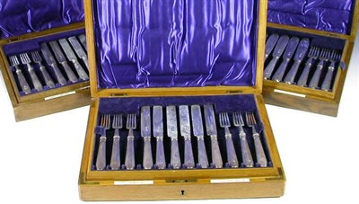 Lot 12 - A part canteen of silver cutlery, with marks...