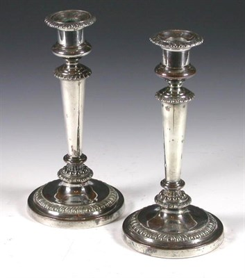 Lot 2 - A pair of Old Sheffield plate candlesticks,...