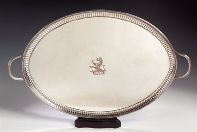 Lot 4 - A plated twin handled tray, of oval form, with...