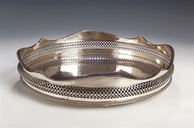 Lot 8 - A plated tray, with gadrooned and pierced...