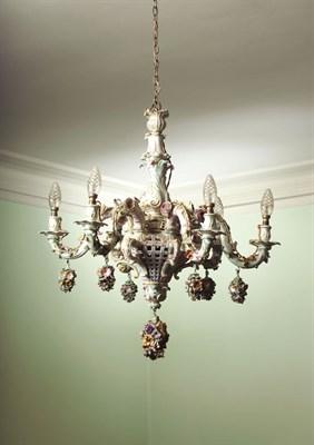 Lot 92 - An impressive Dresden six branch chandelier,...