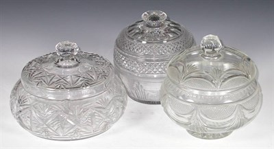 Lot 46 - A circular domed strawberry cut glass bowl and cover