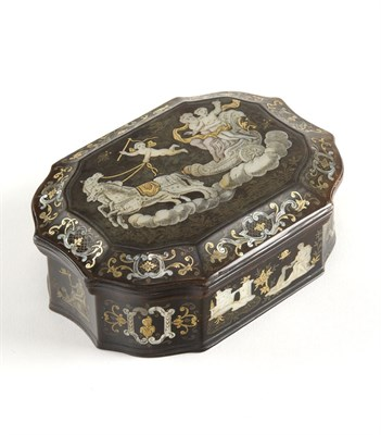 Lot 435 - A fine 19th century Continental tortoiseshell pique-gold and mother of pearl inlaid box