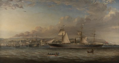 171 - GEORGE ALEXANDER NAPIER<br/>THE SCREW STEAMER 'COLUMBIA' PASSING THE PORT OF GREENOCK<br/>OIL ON CANVAS<br/>90CM X 165CM